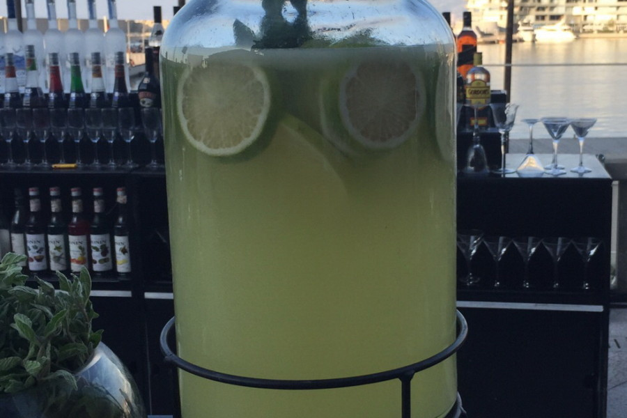 Minted Lemonade in dispenser