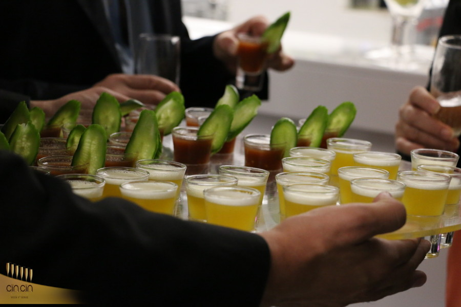 bloody mary and passion fruit shots